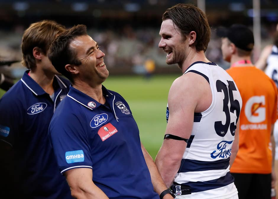 Chris Scott and Patrick Dangerfield share a laugh after the Cats' round one win over the Magpies - AFL,Geelong Cats