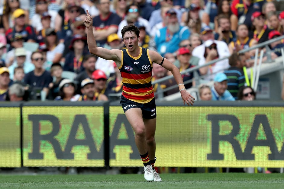 ADELAIDE, AUSTRALIA - MARCH 23: Chayce Jones of the Crows celebrates his first goal goal during the 2019 AFL round 01 match between the Adelaide Crows and the Hawthorn Hawks at Adelaide Oval on March 23, 2019 in Adelaide, Australia. (Photo by James Elsby/AFL Photos)