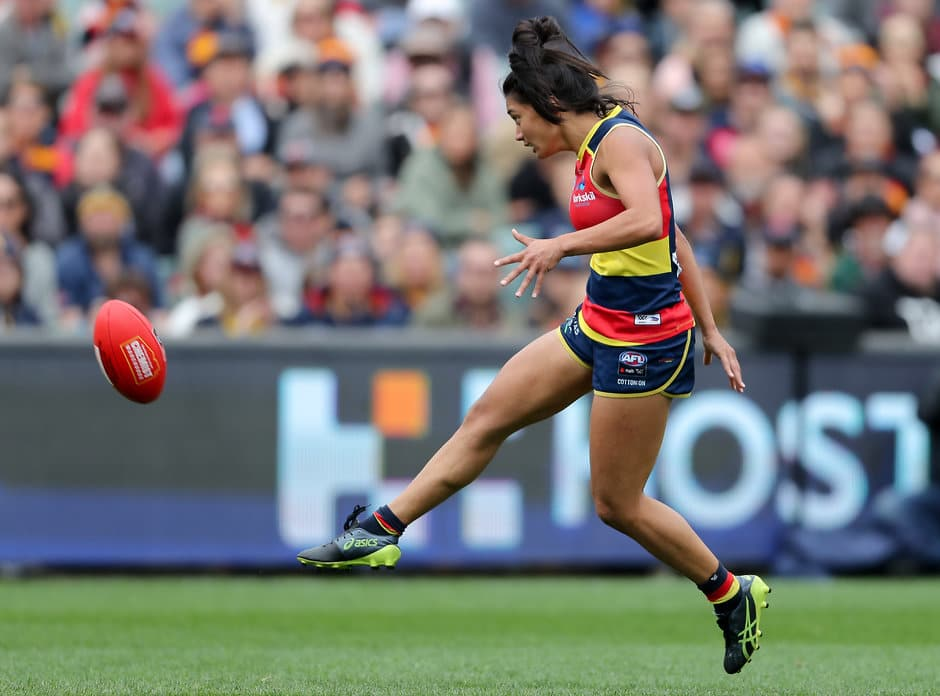 ADELAIDE, AUSTRALIA - MARCH 31: Hannah Martin of the Crows breaks away to kick a goal during the 2019 AFLW Grand Final match between the Adelaide Crows and the Carlton Blues at Adelaide Oval on March 31, 2019 in Melbourne, Australia. (Photo by AFL Photos)