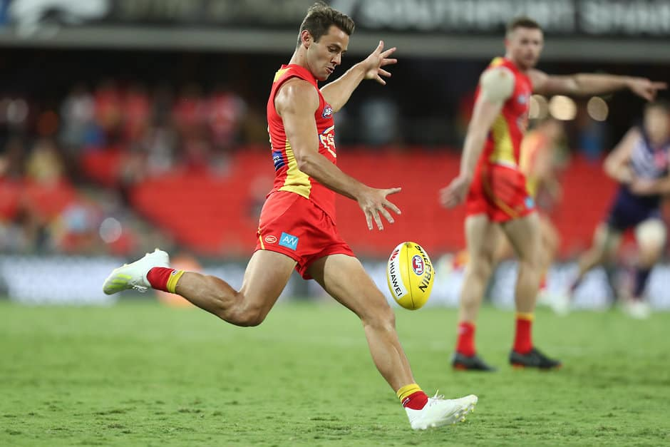 GOLD COAST, AUSTRALIA - MARCH 31: Lachie Weller of the Suns in action during the round two AFL match between the Gold Coast Suns and the Fremantle Dockers at Metricon Stadium on March 31, 2019 in Gold Coast, Australia. (Photo by Chris Hyde/Getty Images)