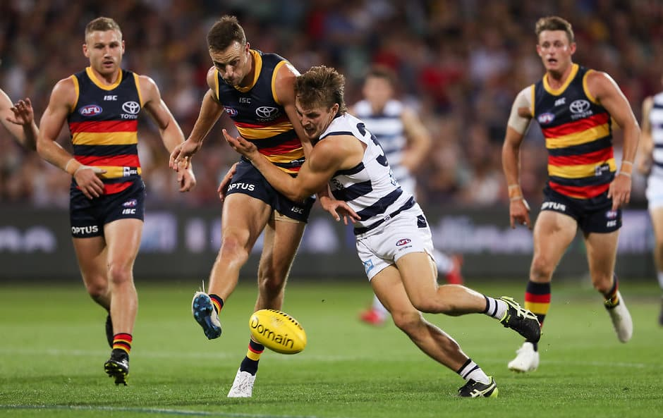 ADELAIDE, AUSTRALIA - APRIL 04: Tom Atkins of the Cats and Brodie Smith of the Crows compete for the ball during the 2019 AFL round 03 match between the Adelaide Crows and the Geelong Cats at Adelaide Oval on April 04, 2019 in Adelaide, Australia. (Photo by AFL Photos)