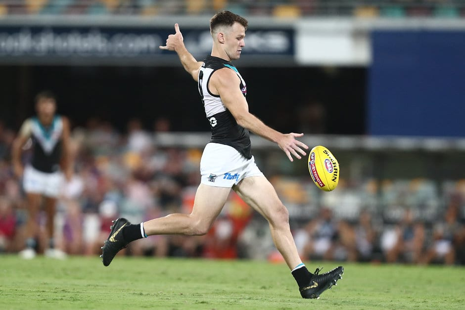 BRISBANE, AUSTRALIA - APRIL 06: Robbie Gray of the Power kicks during the round three AFL match between the Brisbane Lions and the Port Adelaide Power at The Gabba on April 06, 2019 in Brisbane, Australia. (Photo by Chris Hyde/Getty Images)
