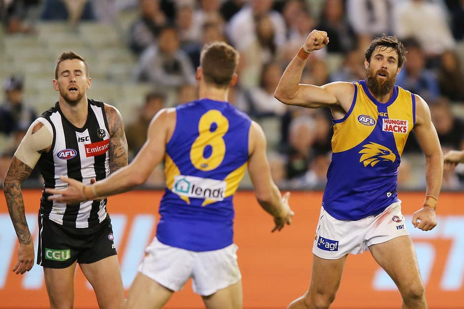 Josh Kennedy in action against Collingwood in round three - Collingwood Magpies