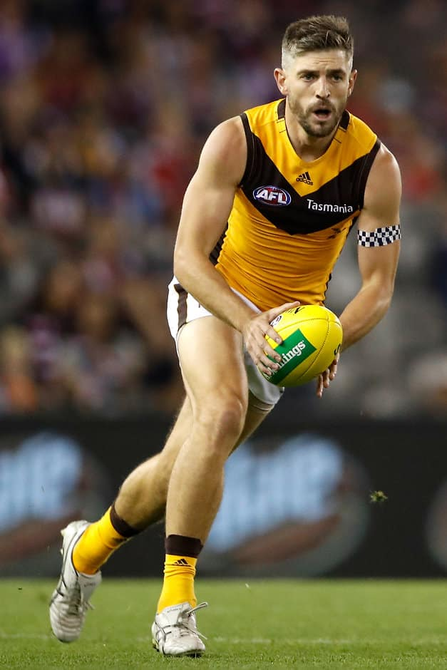 MELBOURNE, AUSTRALIA - APRIL 14: Ricky Henderson of the Hawks in action during the 2019 AFL round 04 match between the St Kilda Saints and the Hawthorn Hawks at Marvel Stadium on April 14, 2019 in Melbourne, Australia. (Photo by Dylan Burns/AFL Photos)
