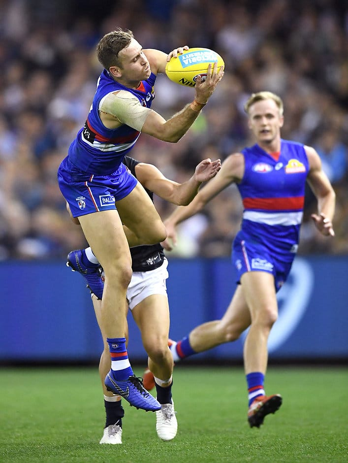 Hayden Crozier (above) was named among the Bulldogs' best in Easter Sunday's loss to Carlton. Photo by Quinn Rooney/Getty Images - Western Bulldogs,Carlton,Marvel Stadium