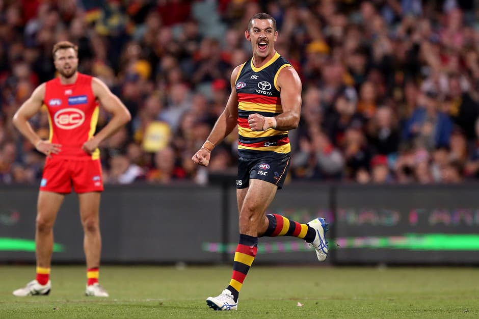 ADELAIDE, AUSTRALIA - APRIL 21: Taylor Walker of the Crows celebrates a goal during the 2019 AFL round 05 match between the Adelaide Crows and the Gold Coast Suns at the Adelaide Oval on April 21, 2019 in Melbourne, Australia. (Photo by James Elsby/AFL Photos)