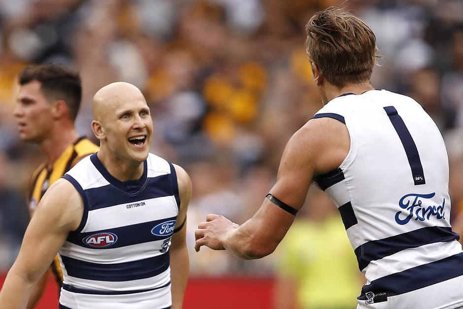 Gary Ablett and Rhys Stanley celebrate a goal against the Hawks. - Geelong Cats,Rhys Stanley,Gary Ablett