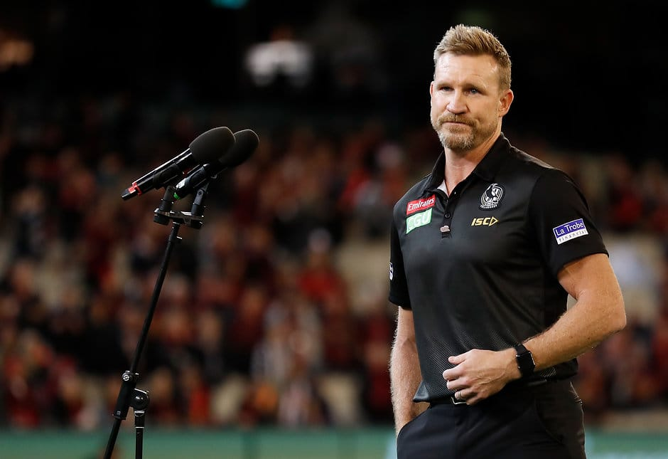 Nathan Buckley addresses the crowd after the Anzac Day game - Collingwood Magpies