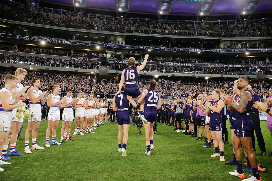 David Mundy is chaired off after his 300th game and Fremantle's win over the Bulldogs in round six. - Fremantle,Fremantle Dockers