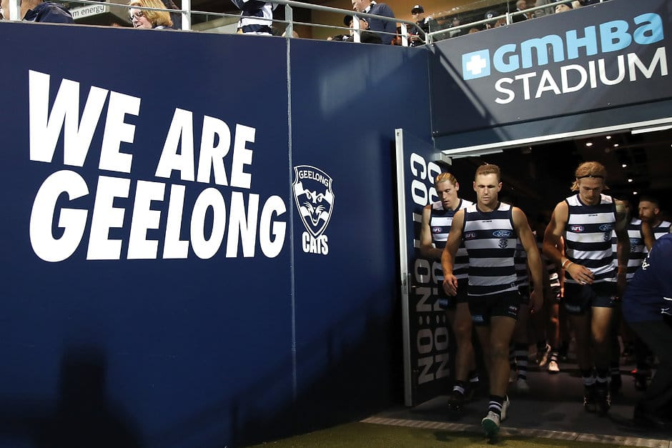 GEELONG, AUSTRALIA - APRIL 28: Joel Selwood of the Cats leads his side on to the ground after half time during the 2019 AFL round 06 match between the Geelong Cats and the West Coast Eagles at GMHBA Stadium on April 28, 2019 in Geelong, Australia. (Photo by Dylan Burns/AFL Photos)