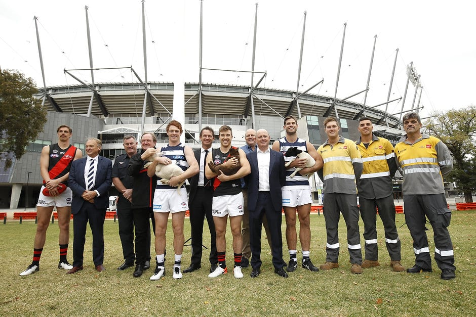 Gary Rohan and Tom Hawkins at the Powercor Country Festival Launch at the MCG on Monday. - Geelong Cats