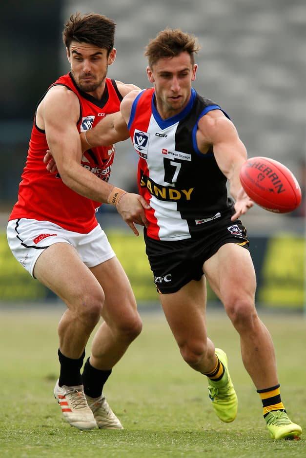 Bullish midfielder Luke Dunstan led the charge as the Zebras held on in a thriller. - St Kilda Saints,VFL