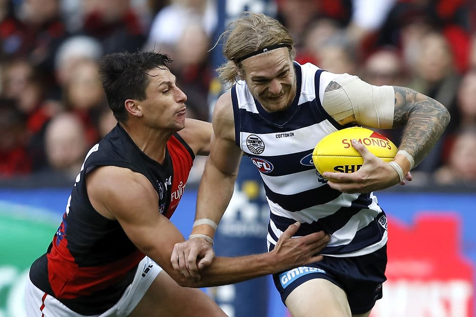 Tom Stewart won the Tom Wills Award after being named best on ground against the Bombers. - Geelong Cats,Gary Ablett,Tom Stewart,Tim Kelly