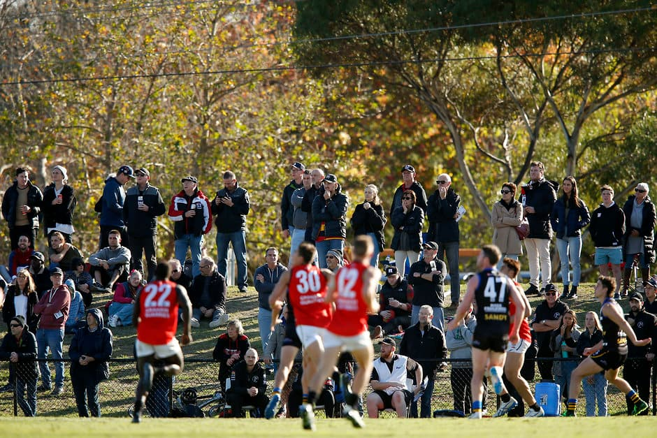 MELBOURNE, AUSTRALIA - MAY 05: The crowd looks on during the round five VFL match between Sandringham and Frankston at RSEA Park on May 05, 2019 in Melbourne, Australia. (Photo by Darrian Traynor/AFL Photos/Getty Images)