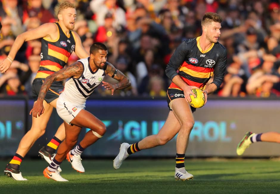 ADELAIDE, AUSTRALIA - MAY 05: Bryce Gibbs of the Crows breaks away during the 2019 AFL round 07 match between the Adelaide Crows and the Fremantle Dockers at Adelaide Oval on May 05, 2019 in Adelaide, Australia. (Photo by Matt Turner/AFL Photos)