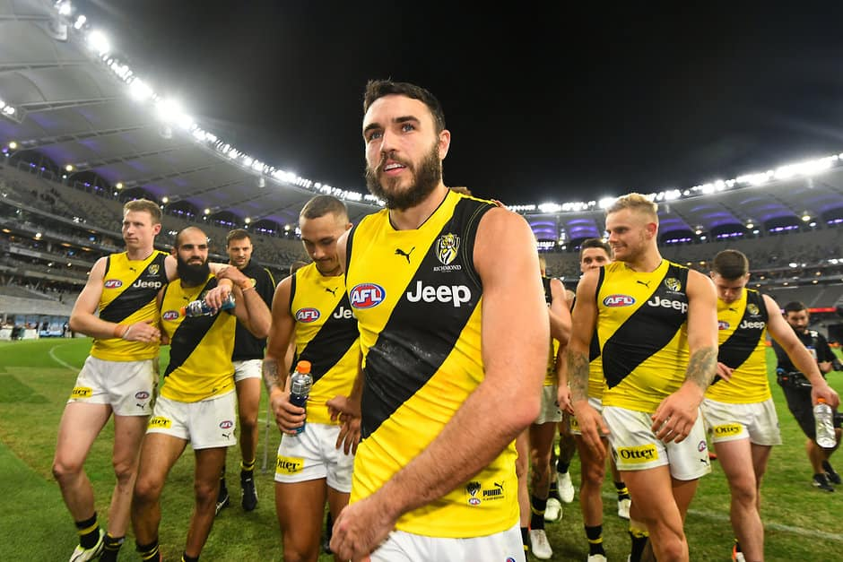 PERTH, AUSTRALIA - MAY 12: Shane Edwards of the Tigers leads the team into the rooms during the 2019 AFL round 08 match between the Fremantle Dockers and the Richmond Tigers at Optus Stadium on May 12, 2019 in Perth, Australia. (Photo by Daniel Carson/AFL Photos)