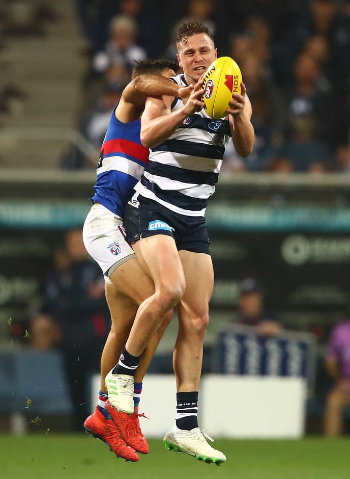 Mitch Duncan in action against the Bulldogs on Saturday. - Geelong Cats,Mitch Duncan