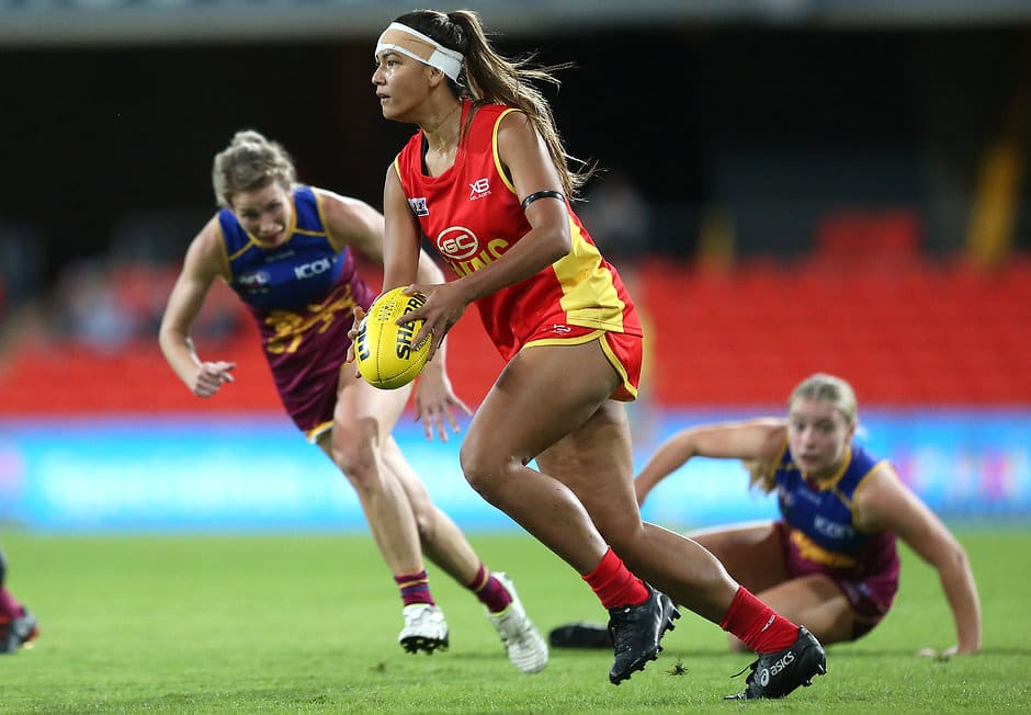 GOLD COAST, AUSTRALIA - MAY 25: Tayla Thorn of the Suns makes a run during the AFL QW Winter Series match between the Gold Coast Suns and the Brisbane Lions at Metricon Stadium on May 25, 2019 in Gold Coast, Australia. (Photo by Jono Searle/AFL Photos/Getty Images)
