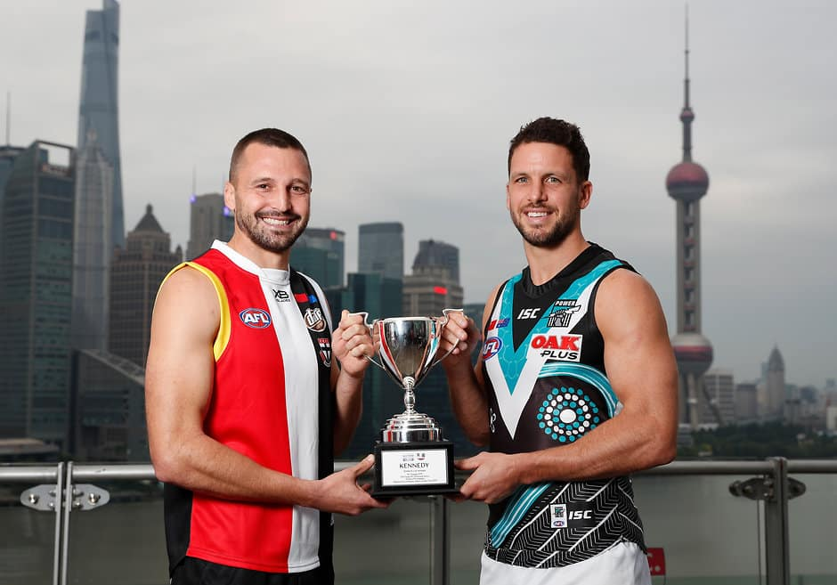 SHANGHAI, CHINA - MAY 30: Jarryn Geary of the Saints and Travis Boak of the Power pose for a photograph during the 2019 Port Adelaide and St Kilda Shanghai Match Official Press Conference at Bunyan Tree on the Bund on May 30, 2019 in Shanghai, China. (Photo by Michael Willson/AFL Photos)