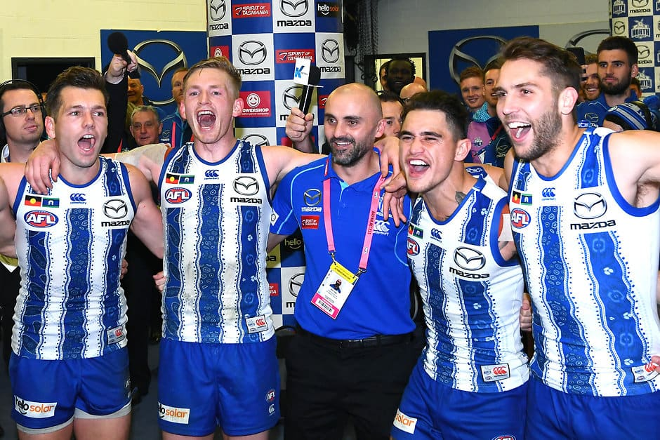Rhyce Shaw celebrates his first win as interim coach. All pictures: AFL Photos - AFL,Season reviews,Tag-Analysis,North Melbourne Kangaroos