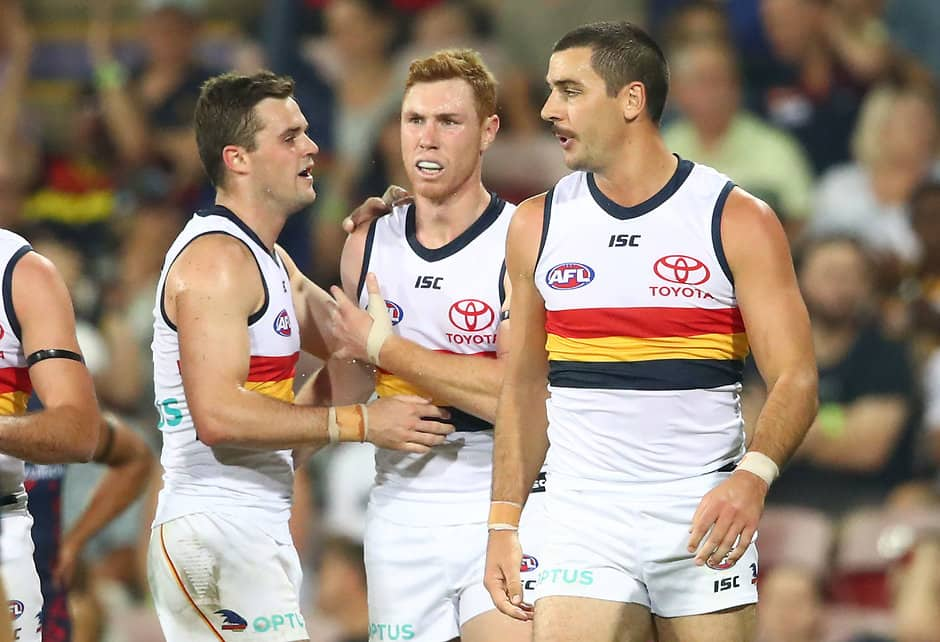 DARWIN, AUSTRALIA - JUNE 01: Tom Lynch of the Crows is congratulated by Taylor Walker of the Crows  after kicking a goal during the round 11 AFL match between the Melbourne Demons and the Adelaide Crows at TIO Stadium on June 01, 2019 in Darwin, Australia. (Photo by Scott Barbour/Getty Images)