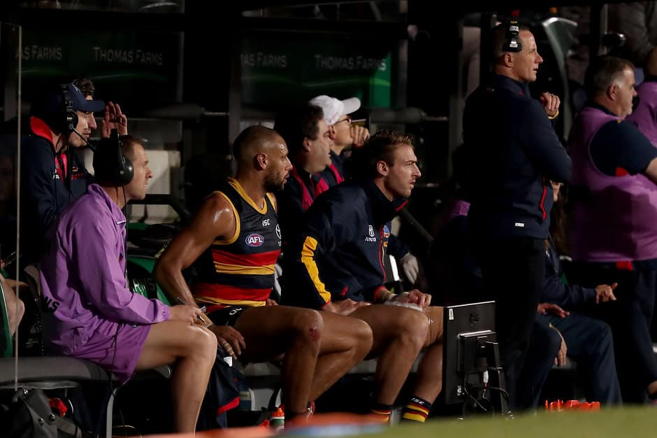 ADELAIDE, AUSTRALIA - JUNE 13: Daniel Talia of the Crows on the bench during the 2019 AFL round 13 match between the Adelaide Crows and the Richmond Tigers at Adelaide Oval on June 13, 2019 in Adelaide, Australia. (Photo by James Elsby/AFL Photos)
