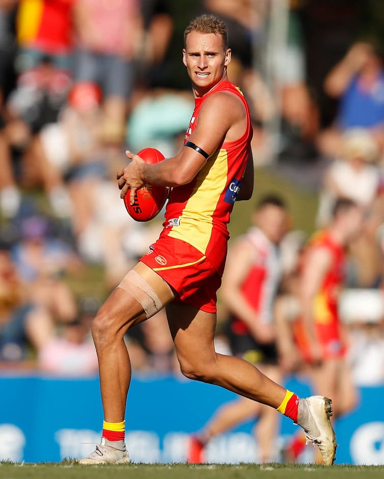 TOWNSVILLE, AUSTRALIA - JUNE 15: Will Brodie of the Suns in action during the 2019 AFL round 13 match between the Gold Coast Suns and the St Kilda Saints at Riverway Stadium on June 15, 2019 in Townsville, Australia. (Photo by Michael Willson/AFL Photos)