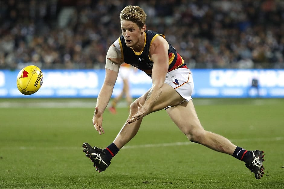GEELONG, AUSTRALIA - JUNE 28: Rory Sloane of the Crows in action during the 2019 AFL round 15 match between the Geelong Cats and the Adelaide Crows at GMHBA Stadium on June 28, 2019 in Melbourne, Australia. (Photo by Dylan Burns/AFL Photos)