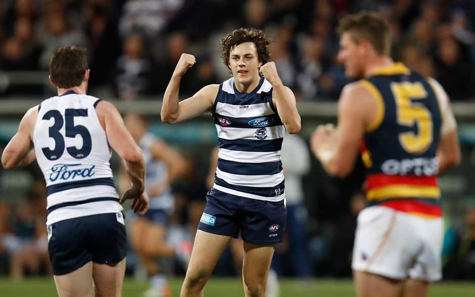 Jordan Clark celebrates a goal against the Crows - AFL,Rising Star,Geelong Cats,Jordan Clark