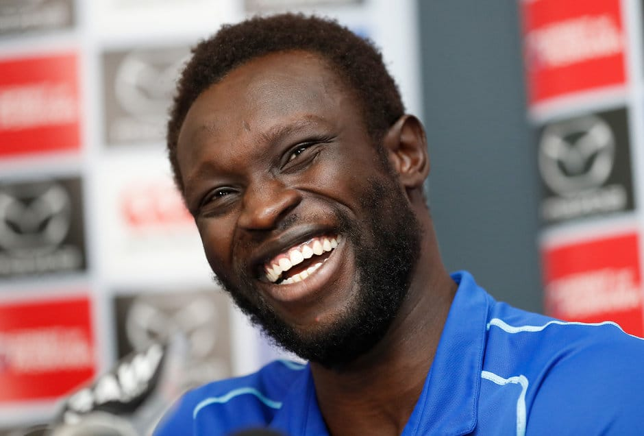 Roo beauty: A smiling Majak Daw faces the media on Monday. Picture: AFL Photos - AFL,North Melbourne Kangaroos,Majak Daw,VFL,Injuries