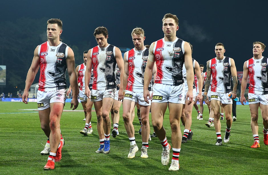 HOBART, AUSTRALIA - JULY 07:  The Saints leave the field after losing  the round 16 AFL match between the North Melbourne Kangaroos and the St Kilda Saints at Blundstone Arena on July 07, 2019 in Hobart, Australia. (Photo by Scott Barbour/Getty Images via AFL Photos)