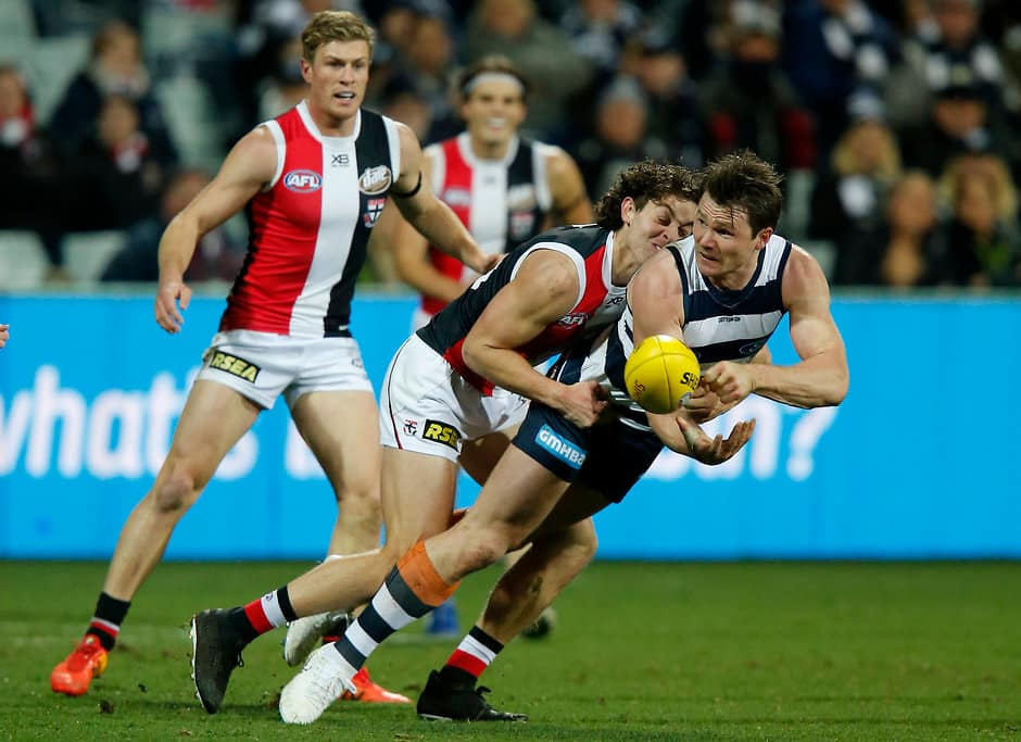 Patrick Dangerfield was awarded three votes against St Kilda in AFL.com.au's Brownlow Predictor. All pictures: AFL Photos - AFL,Geelong Cats,Patrick Dangerfield,Brownlow