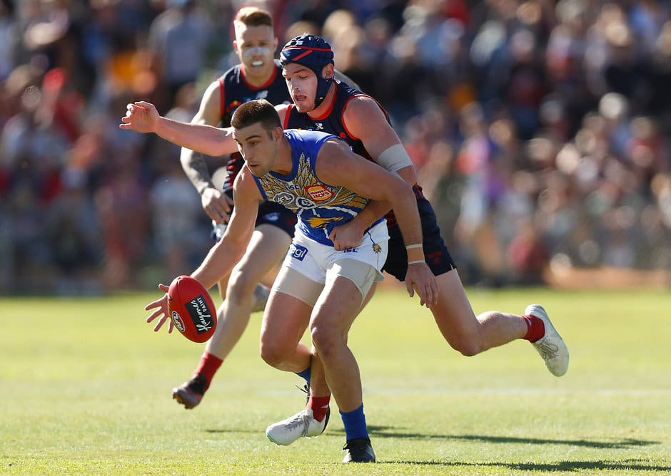 Angus Brayshaw tagged Elliot Yeo on Sunday. (Photo by Michael Willson/AFL Photos)