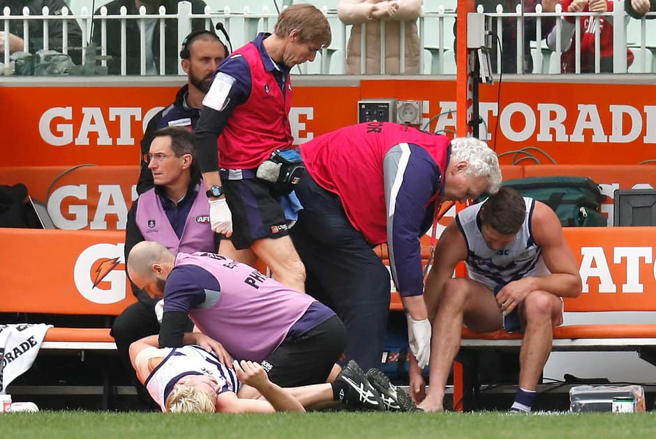 Jesse Hogan's season-ending foot injury has been a huge blow for the Dockers. All pictures: AFL Photos - AFL,Injuries