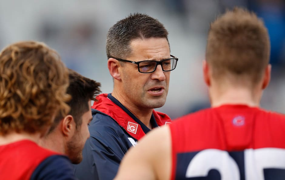 Jade Rawlings talks to Melbourne players in the round 14 clash against Freo - AFL,North Melbourne Kangaroos,Melbourne Demons