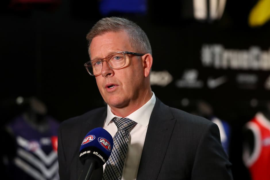 MELBOURNE, AUSTRALIA - JULY 24: General Manager Football Operations Steve Hocking speaks to media during the AFL Competition Committee Meeting at AFL House on July 24, 2019 in Melbourne, Australia. (Photo by Kelly Defina/Getty Images via AFL Photos)