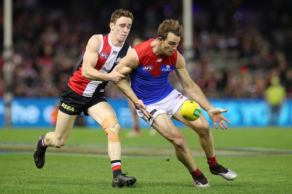 MELBOURNE, AUSTRALIA - JULY 27: Tim Smith of the Demons runs with the ball during the round 19 AFL match between the St Kilda Saints and the Melbourne Demons at Marvel Stadium on July 27, 2019 in Melbourne, Australia. (Photo by Graham Denholm/Getty Images via AFL Photos)