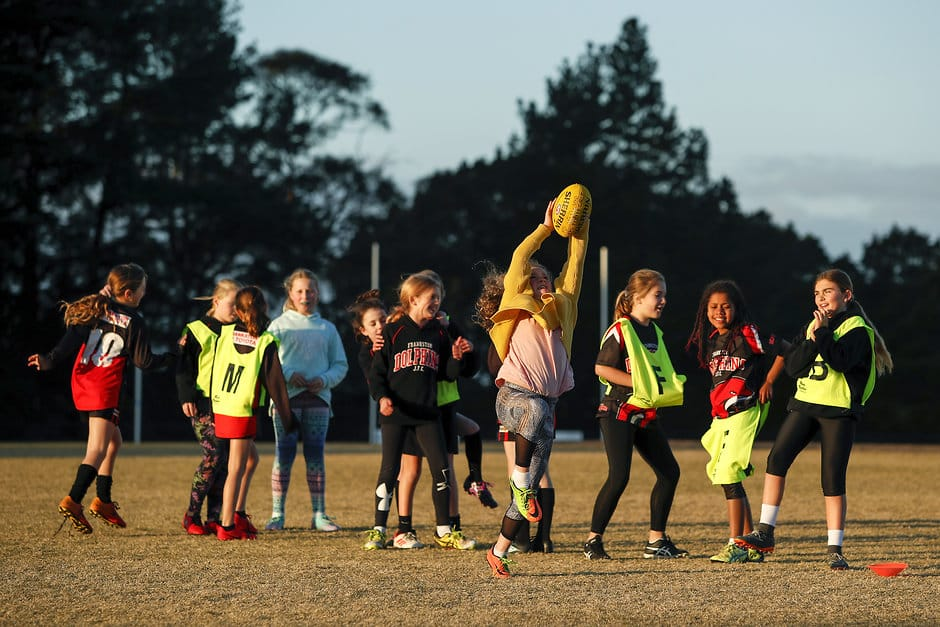 One of the Dolphins' three youth girls teams having some fun at Overport Park. All pictures: Dylan Burns, AFL Photos - AFL