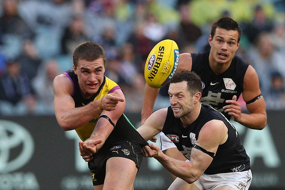 Jack Ross in action for the Tigers in round 21 - AFL, Grand Final, Richmond Tigers, Bachar Houli, Jack Ross