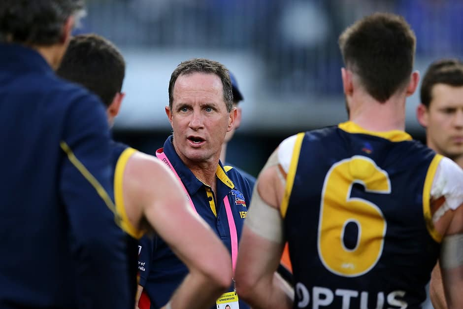Don Pyke speaks to his players during their loss to West Coast - Collingwood Magpies,Adelaide Crows