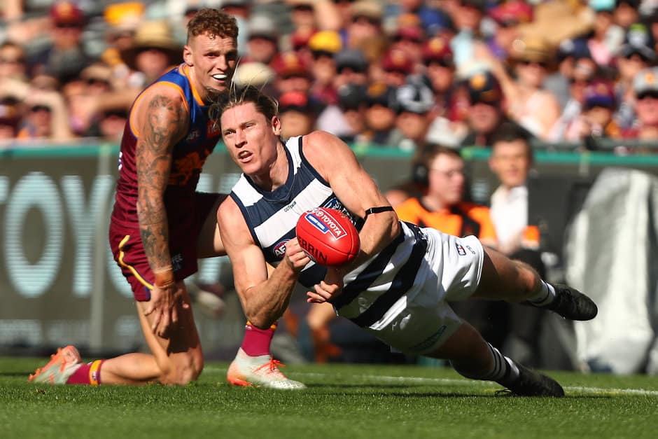 Defender-turned-ruckman Mark Blicavs in action for the Cats against the Lions - AFL,Tag-Fantasy,Fantasy