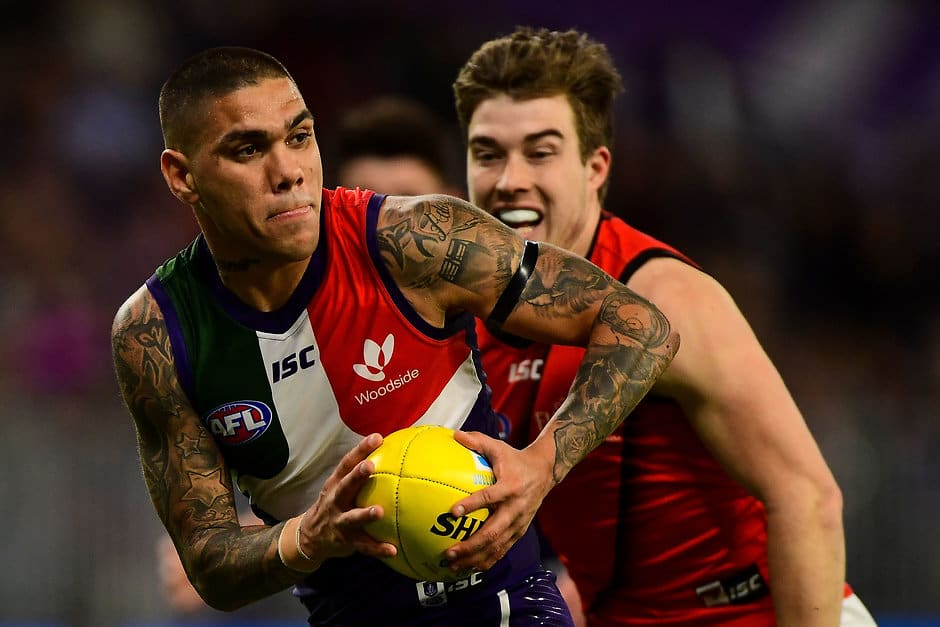 Walters finished with 36 disposals and two goals on Friday night. - Fremantle,Fremantle Dockers,AFL,Essendon,Optus Stadium