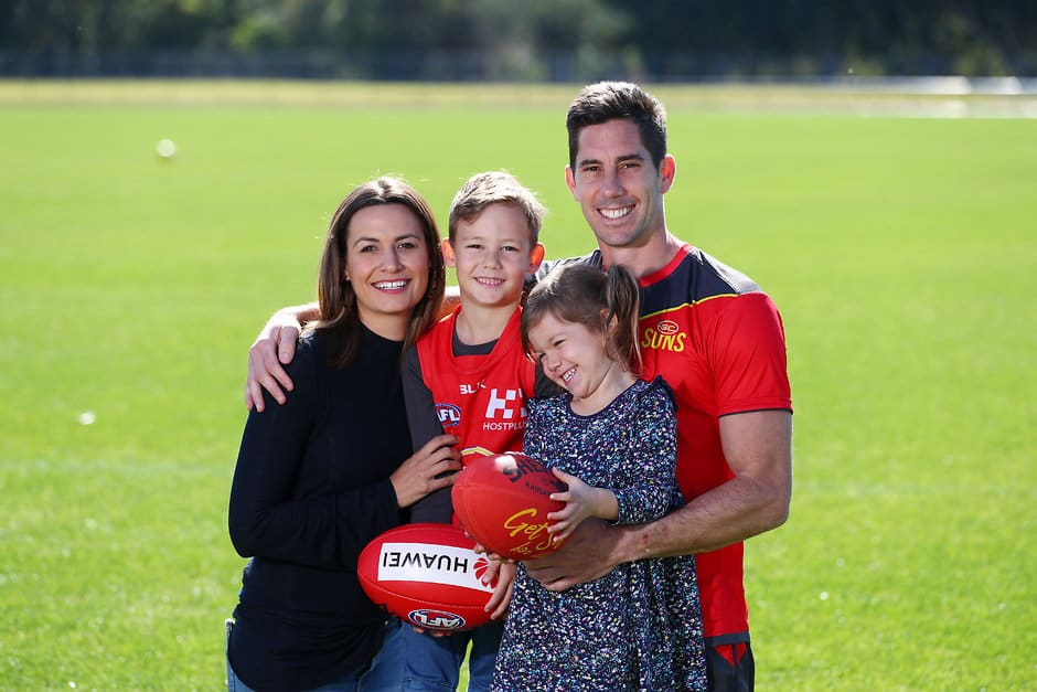 Michael Rischitelli with wife Jo and children Lia and Kai after announcing his retirement - AFL,Gold Coast Suns,Michael Rischitelli,Retirements,Delistings