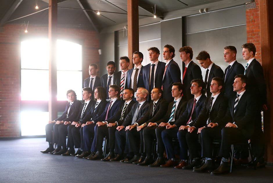 The nominees for this year's NAB AFL Rising Star pose for a group photo. Picture: Getty Images - AFL,Rising Star