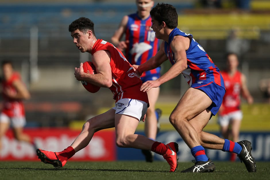 Sam Flanders in action during Sunday's qualifying final. Picture: AFL Photos - AFL,Draft,Tag-Draft