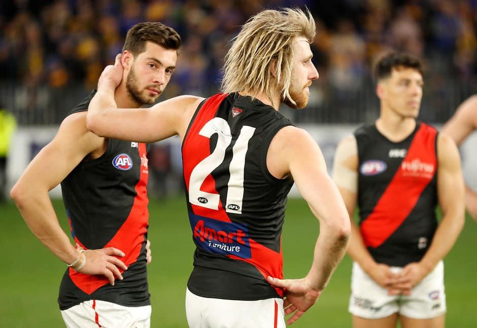 Dyson Heppell and the Bombers have finished eighth after losing their elimination final to West Coast - AFL,Draft,Adelaide Crows,Brisbane Lions,Carlton Blues,Collingwood Magpies,Essendon Bombers,Fremantle Dockers,Geelong Cats,Gold Coast Suns,GWS Giants,Hawthorn Hawks,Melbourne Demons,North Melbourne Kangaroos,Port Adelaide Power,Richmond Tigers,St Kilda Saints,Sydney Swans,Western Bulldogs,West Coast Eagles