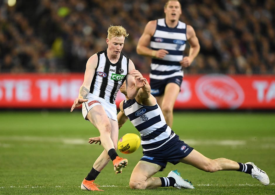 John Noble in action against the Cats in Friday night's qualifying final - Collingwood Magpies,Geelong Cats