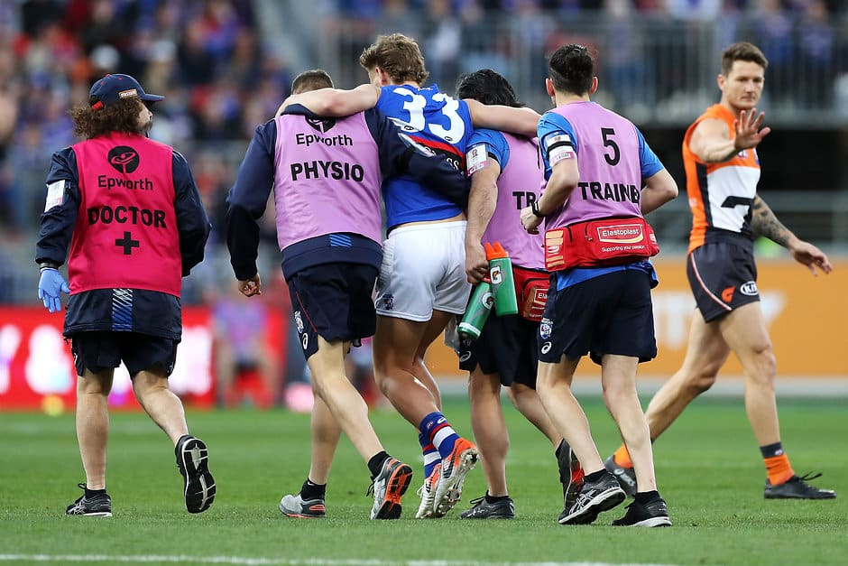 Aaron Naughton sustained the injury in the third quarter of the Western Bulldogs' elimination final loss to the GWS Giants. - Western Bulldogs