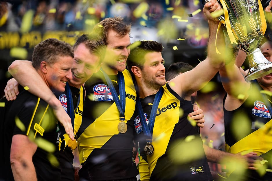 Trent Cotchin holds the premiership cup aloft as the Tigers celebrate their second flag in three years. All pictures: AFL Photos - AFL,GWS Giants,Richmond Tigers,Grand Final