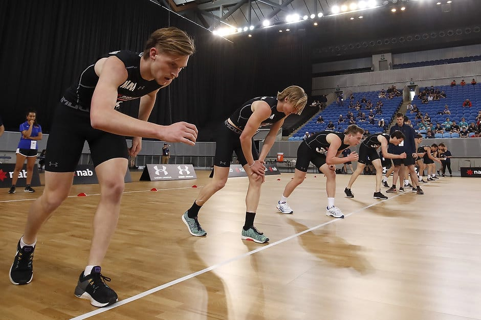 Draft Invitees lineup for the yoyo test during the 2019 AFL Draft Combine. - Geelong Cats,Tag-Draft